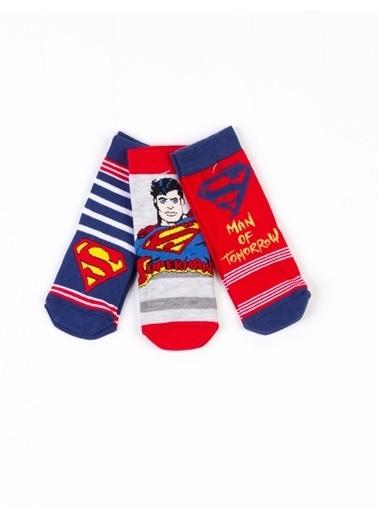 Superman  Lisanslı 6 Çift Soket Çorap 17073 Kırmızı
